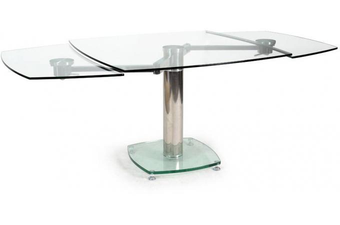 Table carr e avec allonges plateau verre transparent loan for Table avec rallonge design