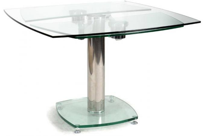 Table carr e avec allonges plateau verre transparent loan for Table carree avec rallonge