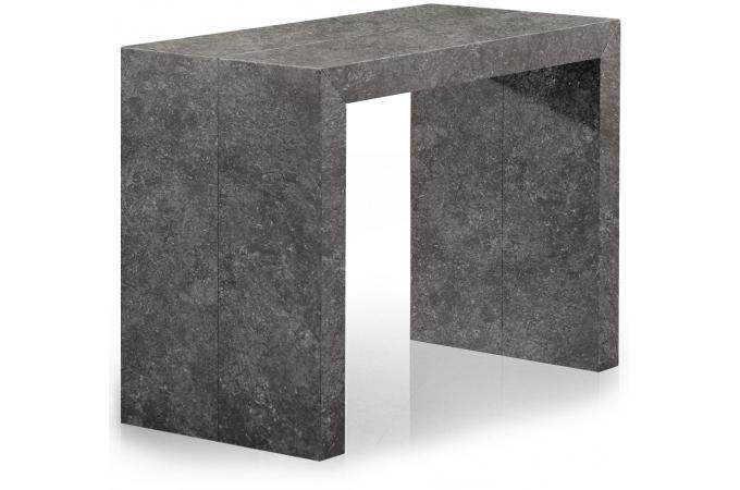 table console extensible effet b ton gris 3 rallonges. Black Bedroom Furniture Sets. Home Design Ideas