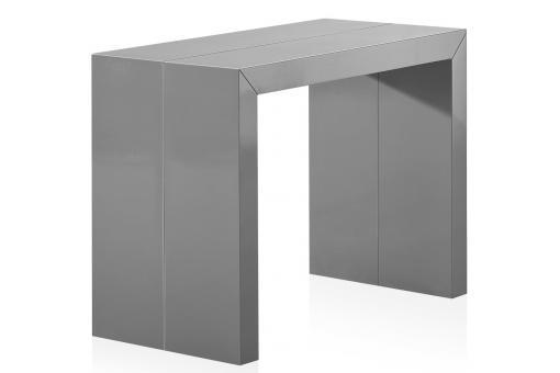 Table console extensible 3 rallonges gris laqu touch design pas cher sur sof - Console extensible gris laque ...