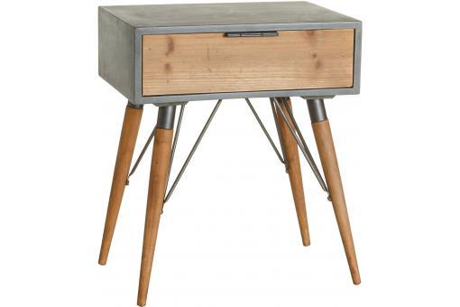 table d 39 appoint industrielle 1 tiroir en bois et m tal. Black Bedroom Furniture Sets. Home Design Ideas