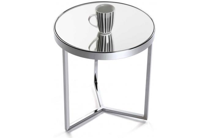 table d 39 appoint en m tal plateau miroir pieds angles d43 bessib design sur sofactory. Black Bedroom Furniture Sets. Home Design Ideas