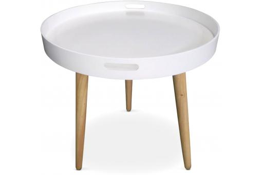 Table D'Appoint Ronde  Scandinave Blanc KOIKIL