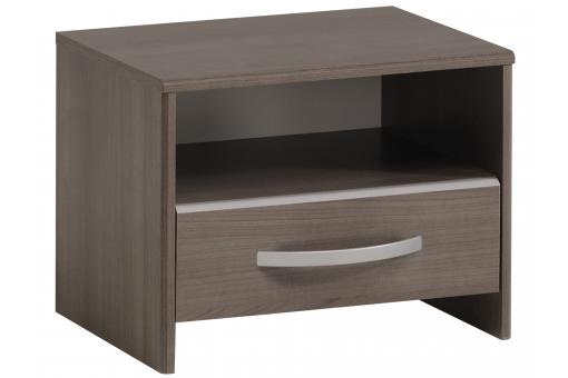 Table de Chevet 1 Niche 1 Tiroir Noyer Gris LIVIE SoFactory
