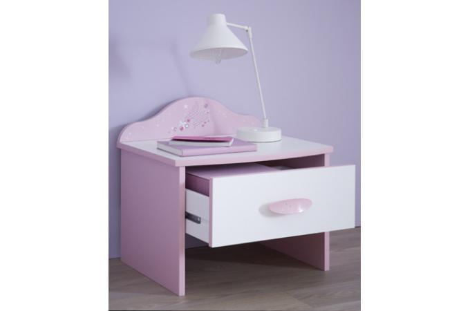 Table De Chevet 1 Tiroir Rose Pastel Blanc Perle Piama Design Sur