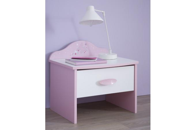 Table de chevet 1 tiroir rose pastel blanc perle PIAMA