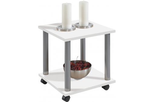 Table De Chevet 2 Plateaux Sur Roulettes Blanc Taleur Design Sur