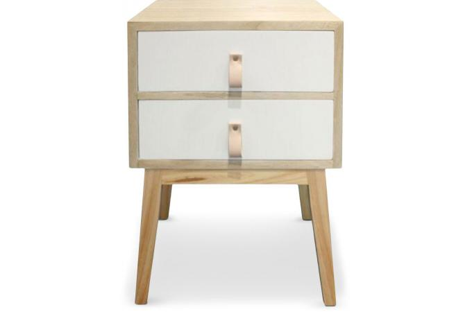 Table De Chevet 2 Tiroirs Scandinave Blanc NORTH