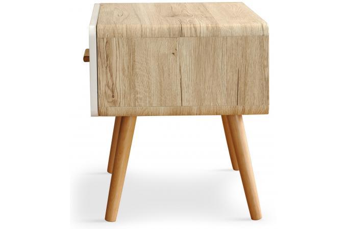table de chevet blanche et bois rumia