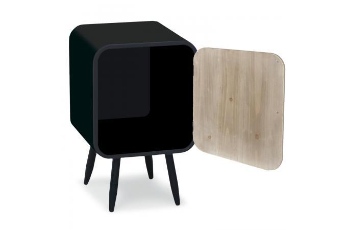 table de chevet m tal noir 1 porte battante styan design sur sofactory