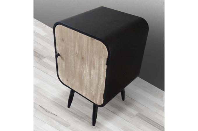 table de chevet m tal noir 1 porte battante styan design sur sofactory. Black Bedroom Furniture Sets. Home Design Ideas