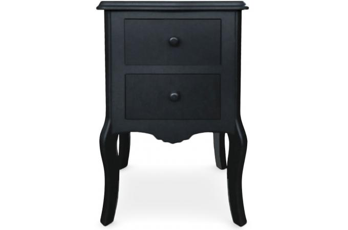 table de chevet noir 2 tiroirs floris design pas cher sur. Black Bedroom Furniture Sets. Home Design Ideas