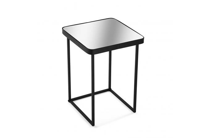 table d 39 appoint plateau miroir m tal noir reflet design sur sofactory. Black Bedroom Furniture Sets. Home Design Ideas