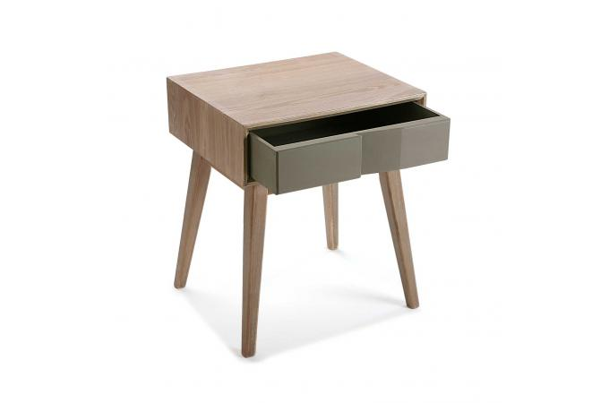 table de chevet scandinave bois 1 tiroir asphalte design sur sofactory. Black Bedroom Furniture Sets. Home Design Ideas