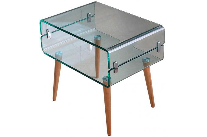 Table De Chevet Verre Bois Narfi