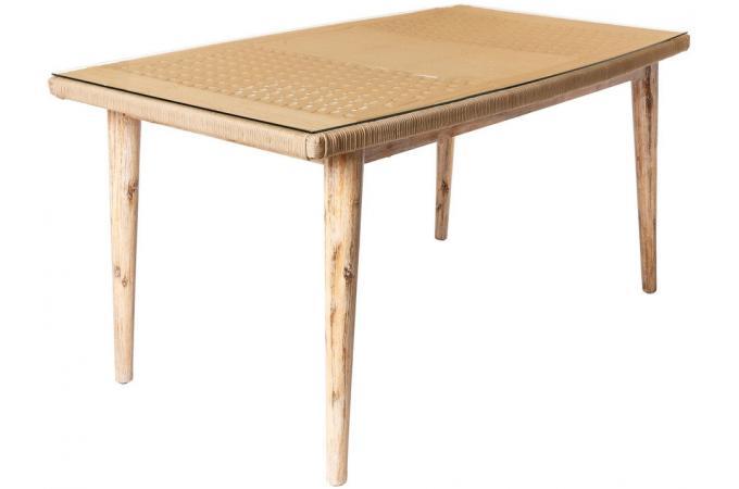 Table de Jardin Corde-Bois Beige TIRIN
