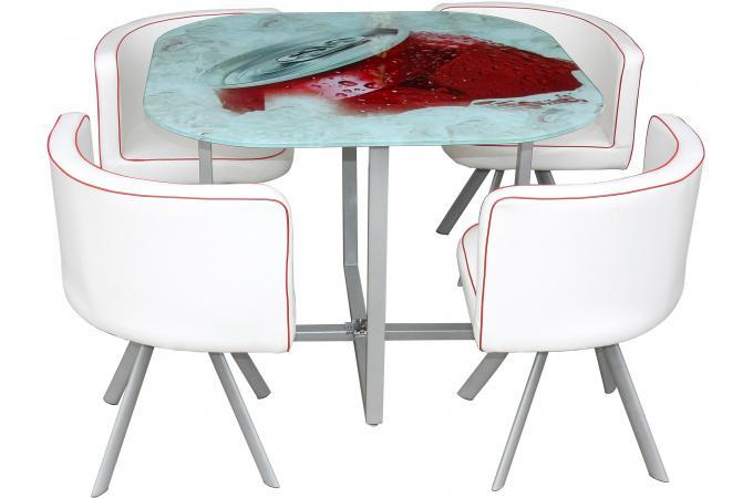 Table en Verre Sérigraphiée et 4 Chaises Blanches KALYA design sur ...