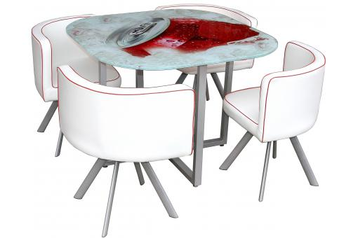 Table en verre s rigraphi e et 4 chaises blanches kalya for Table ronde chaise encastrable