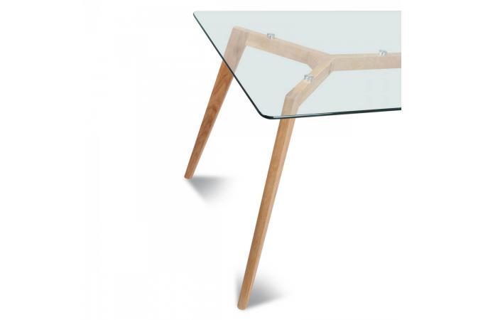 Table style scandinave en verre et bois polaar design