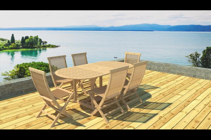 Ensemble Table de Jardin Ovale + 6 Chaises Teck LAUH design sur ...