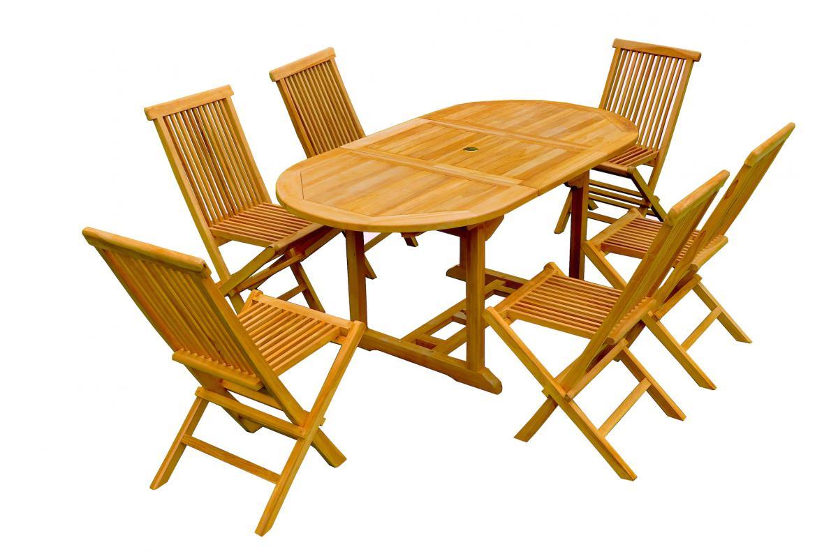 Ensemble Table de Jardin Ovale + 6 Chaises Teck LAUH