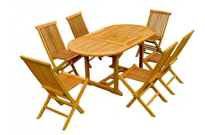 Ensemble Table De Jardin Ovale 6 Chaises Teck Lauh