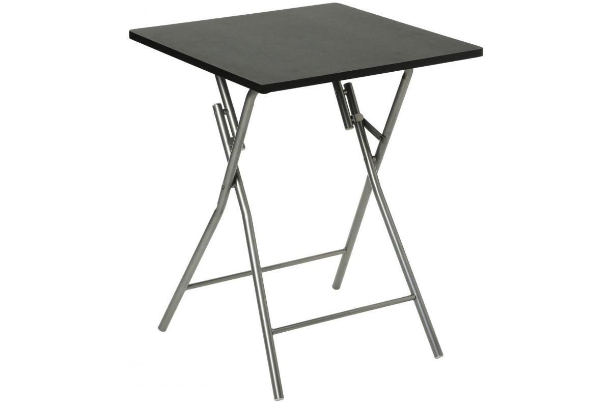 Table Pliante Noir Piétement en Acier Argent SIPLI