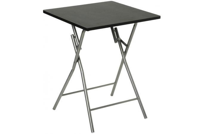 Table Pliante Noir Piétement en Acier Argent SIPLI design ...