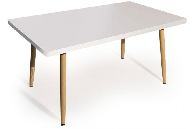Table rectangulaire scandinave blanc frangie design sur for Table scandinave blanc