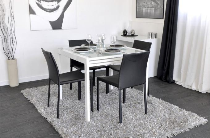 Table de repas extensible 180 cm blanche elena design sur for Table blanche extensible