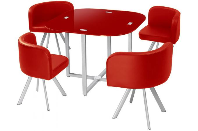 Table Repas Damier + 4 Chaises Rouge IPNOZ