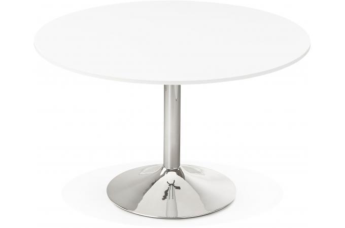 table ronde avec plateau en bois blanc et pied en m tal nikki design sur sofactory. Black Bedroom Furniture Sets. Home Design Ideas