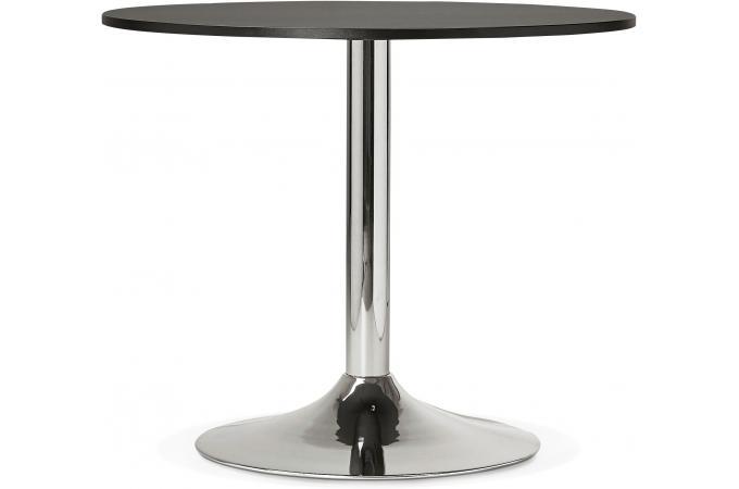 table ronde bois noire pied m tal d90 dakota design sur sofactory. Black Bedroom Furniture Sets. Home Design Ideas
