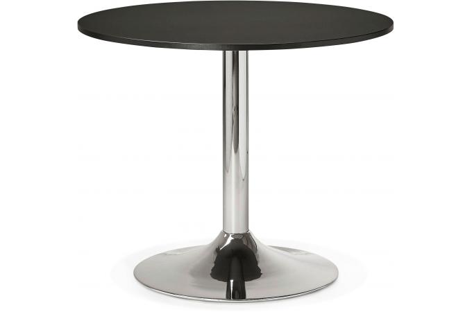 Table ronde bois noire pied m tal d90 dakota design sur for Table ronde chez but