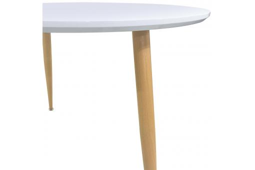 Table scandinave 110cm de diamètre bois laqué blanc RAVED ME185280-0000