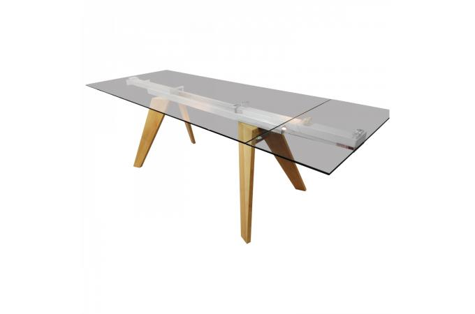 Table scandinave a rallonges plateau en verre 90x160 for Table rallonge scandinave