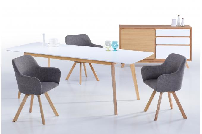 table scandinave extensible blanche 90x180 226 chazz. Black Bedroom Furniture Sets. Home Design Ideas