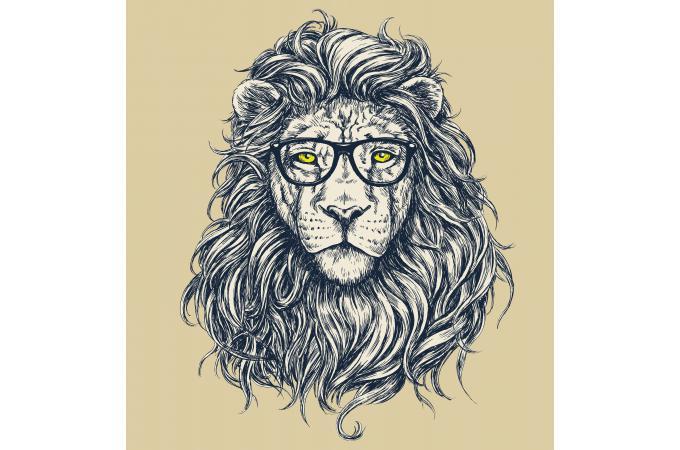 Tableau Animal Hipster Lion Hipster 60x60 Peter Déco Design Sur