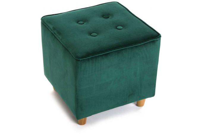 tabouret capitonn carr impression velours vert velvita design sur sofactory. Black Bedroom Furniture Sets. Home Design Ideas