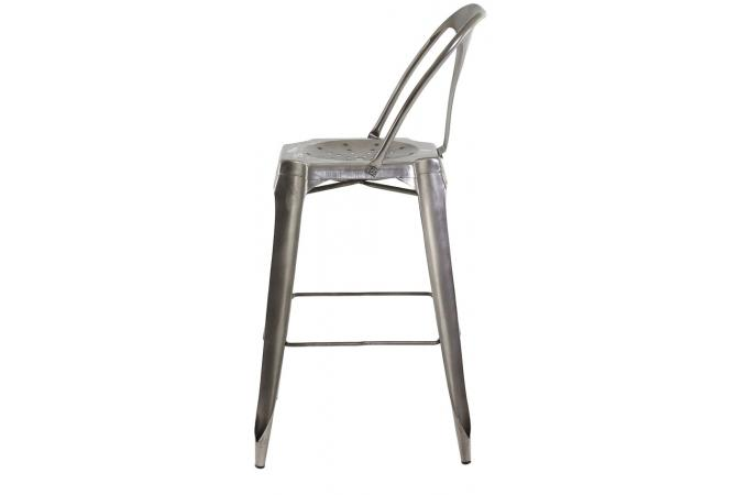 tabouret de bar industriel avec dossier argent samson. Black Bedroom Furniture Sets. Home Design Ideas