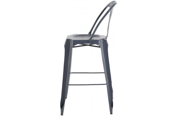 tabouret de bar industriel avec dossier gris samson design. Black Bedroom Furniture Sets. Home Design Ideas