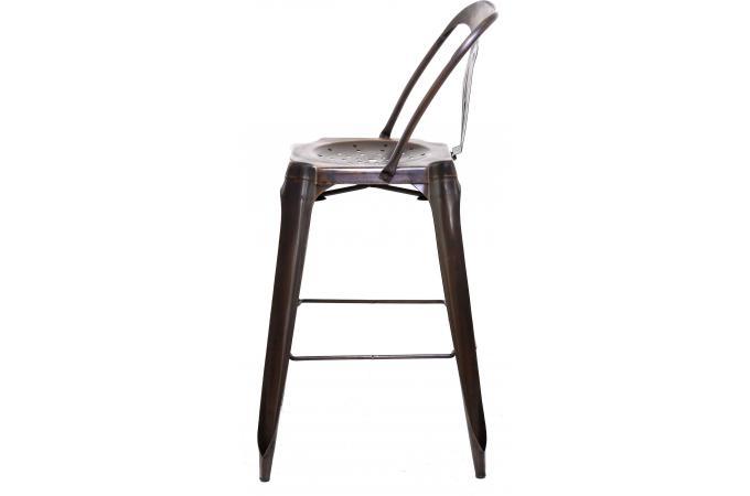 tabouret de bar industriel avec dossier marron samson design sur sofactory. Black Bedroom Furniture Sets. Home Design Ideas