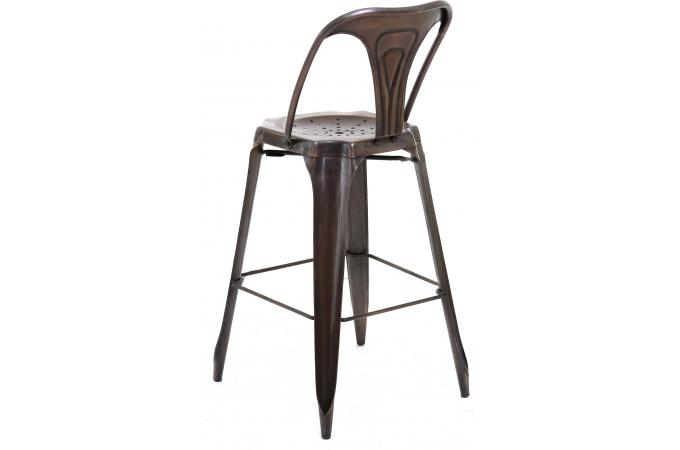 tabouret de bar industriel avec dossier marron samson. Black Bedroom Furniture Sets. Home Design Ideas
