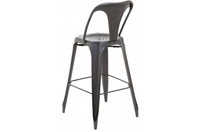 tabouret de bar industriel avec dossier m tal samson. Black Bedroom Furniture Sets. Home Design Ideas