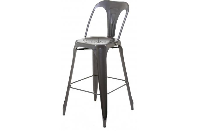 tabouret de bar industriel avec dossier m tal samson. Black Bedroom Furniture Sets. Home Design Ideas