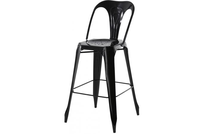 tabouret de bar industriel avec dossier noir samson design. Black Bedroom Furniture Sets. Home Design Ideas