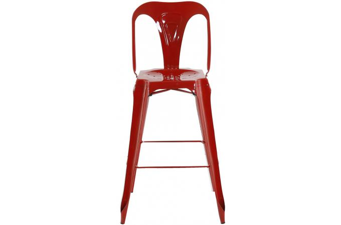 tabouret de bar industriel avec dossier rouge samson. Black Bedroom Furniture Sets. Home Design Ideas