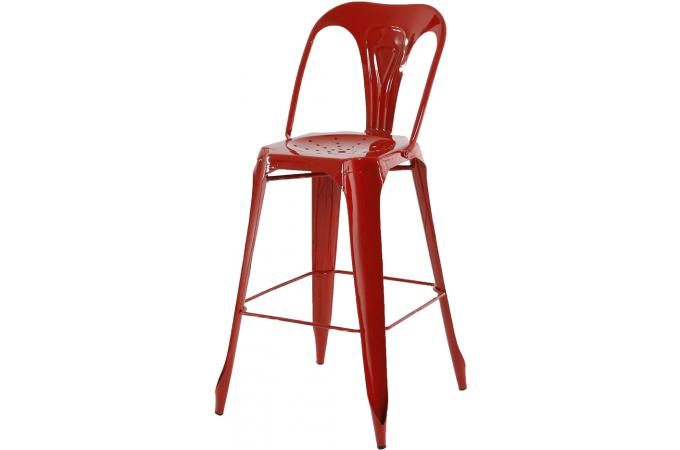 tabouret de bar industriel avec dossier rouge samson design sur sofactory. Black Bedroom Furniture Sets. Home Design Ideas