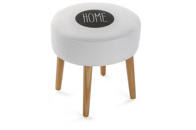 Tabouret Style Scandinave Rond Blanc Impression Home Roxana Design