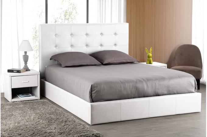t te de lit capitonn e blanche 160x200 orlena design sur. Black Bedroom Furniture Sets. Home Design Ideas